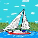 """Coastal Sail_Colored"" by robandcherylesartgallery"