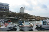 Paros - boats with windmill