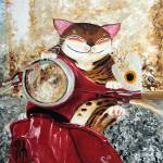 """Catmasutra - The Red Scooter"" by catmasutra"