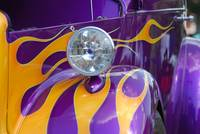 Purple Car with flames-