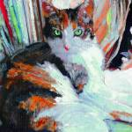 """Day At the Office, Portrait of Allie, Calico Cat"" by BeaconArtWorksCorporation"