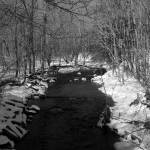 """Creek in the Snow - B&W"" by MarksClickArt"