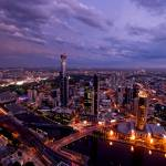 """Melbourne Skyline and Southbank at Sunset"" by DTStudios"