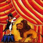 """LION LESSONS UNDER THE BIG TOP"" by shaggycreations"