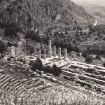 """Temple of Apollo and Theatre, Delphi 1960 Sepia"" by PriscillaTurner"