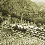 """Temple of Apollo and Theatre, Delphi 1960 Yellow"" by PriscillaTurner"
