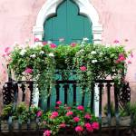 """The Green Ornate Door with Geraniums"" by DonnaCorless"