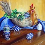 """Chicken or Egg? Polish Pottery XVII"" by 88heather"