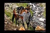 Russian cattle farmer near Elbrus, Caucasus