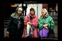 Babushkas waiting for coins near Red Square, Mosco