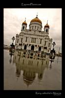 Rainy Cathedral of Christ the Saviour in Moscow, R