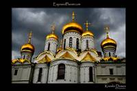 Cathedral domes in the Kremlin with dark sky