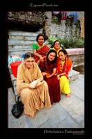 5 Hindi ladies in Pashupatinath temple, Kathmandu,