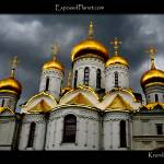 """Cathedral domes in the Kremlin with dark sky"" by ExposedPlanet"
