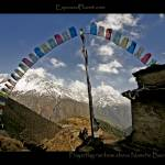 """Prayerflags Rainbow above Namche Bazaar, Nepal"" by ExposedPlanet"