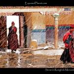 """Nuns in a snowstorm in Rongbuk monastery, Tibet"" by ExposedPlanet"