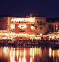 Crete. Rethymnon harbor at night