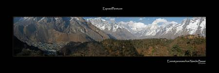 Panorama of Nepalese Himalaya with Everest from Na