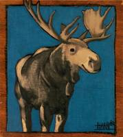 Moose on Blue 12_75 x 11_5
