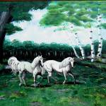 """""""unicorns in meadow 1994"""" by cabartbycindybeck"""