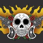 """guns and skull print post"" by luther"