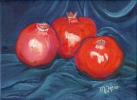 Pomegranites with Blue Drapery