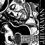 """Guitarman Poster in Black and White"" by artistfaye"