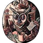 """""""Night Owl at Work"""" by LisaHaney"""