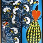 """picok  birds on canvas 19x23in"" by saidart"