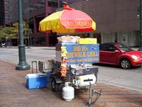 Sidewalk grill. 16th Street Mall, downtown Denver