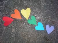 Rainbow hearts on slate
