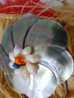 mother-of-pearl flower with shells