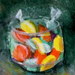"""Colorful Art; Candy in Glass Jar"" by Lenora"