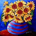"""Sunflowers In Striped Vase"" by reniebritenbucher"