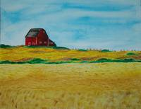 Red Barn Golden field blue sky