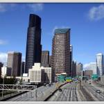 """Cityscape Seattle from Yesler Way Overpass"" by studio_narvaez"