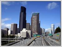 Cityscape Seattle from Yesler Way Overpass