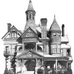 """Pen and Ink Stippled Victorian House drawing"" by DulceDiane"