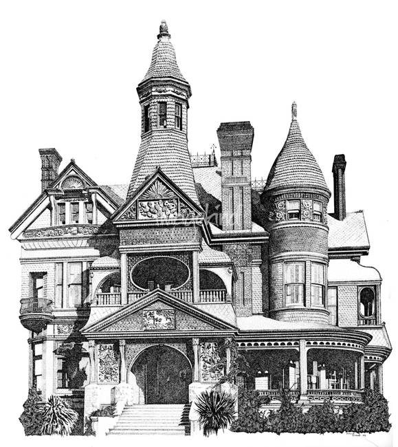 Pen House Drawing Victorian House Drawing by