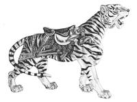 Stipple Pen and Ink Carousel Tiger