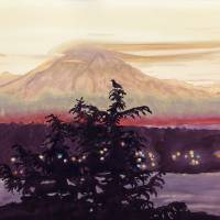 Bird's View of Mt Rainier Art Prints & Posters by Kathy Johnson