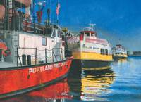 Fireboat and Ferries in Portland, Maine