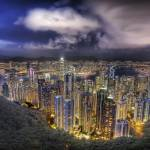 """Hong Kong from the Peak on a Summer Night"" by stuckincustoms"