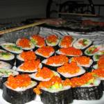 """Sushi, rolls with smelt trout roe a bit closer."" by VeryDistorted"