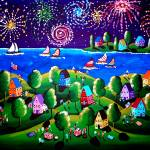 """Fourth Of July 2 Fireworks Fun Folk Art"" by reniebritenbucher"