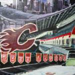 """The Saddledome- Calgary Flames"" by RipleyDesigns"