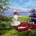 """Valentines Day- two Dachshund Dogs in Love SM Viol"" by stella"