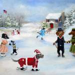 """On the Old Pond- Ice Skating Dogs and Puppies SM V"" by stella"
