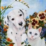 """The Pansy Party- a Dalmatian Puppy, Kitten in Flow"" by stella"