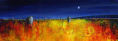 moorland stones under the moon